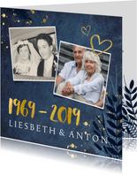 Jubiläumskarte zum 50. Hochzeitstag mit Fotos und Herzen