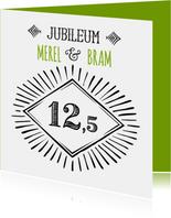 Jubileum 12,5 handlettering OT