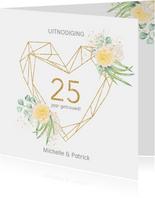 Jubileum 25 jaar rozen gouden hart