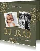 Jubileum 30 jaar uitnodiging goud hartjes