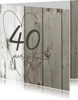 Jubileum 40 jaar getrouwd uitnodiging hout linnen