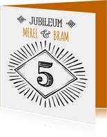Jubileum 5 handlettering - OT