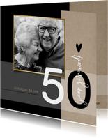Jubileum 50 jaar getrouwd, zwart met craft papier look