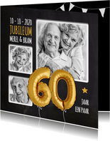 Uitnodiging jubileum 60 jaar ballonnen goud