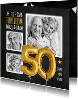 Uitnodiging jubileum ballonnen goud 50 jaar krijtbord
