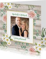 Jubileum huwelijk rozen op hout