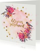 Jubileum kaart confetti 65 jaar getrouwd