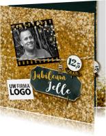 Jubileum medewerker glitter goud vierkant met logo