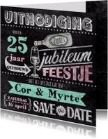 Jubileumkaarten - Jubileum stempel krijt drankje