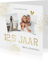 Jubileum uitnodiging 12,5 jaar goud hartjes stijlvol