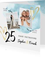 Jubileum uitnodiging 25 jaar getrouwd waterverf hartjes goud