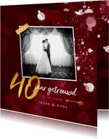 Jubileumkaarten - Jubileum uitnodiging 40 jaar robijn spetters goud foto