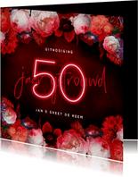 Jubileum uitnodiging 50 jaar bloemen en neon