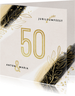 Jubileum uitnodiging 50 jaar goud verf stijlvol