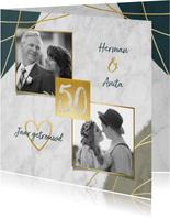 Jubileum uitnodiging 50 jaar met marmer, verf en foto's