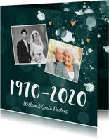 Jubileum uitnodiging 50 jaar spetters gouden hartjes