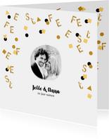 Jubileum uitnodiging confetti letters goud