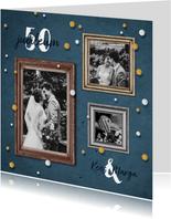 Jubileum uitnodiging feestelijk met fotolijstjes en confetti