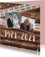 Jubileum uitnodiging hip hout vintage kant met foto's
