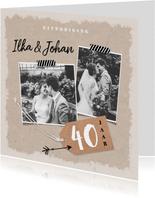 Jubileum uitnodiging kraftpapier met eigen foto's