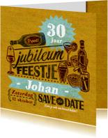 Jubileum uitnodiging stempel geel drank