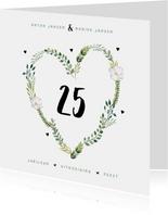 Jubileum uitnodiging stijlvol botanisch met hart