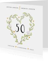 Jubileum uitnodiging stijlvol met botanisch hart