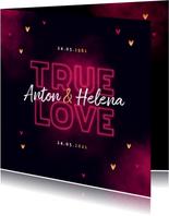 Jubileum uitnodiging true love neon hartjes