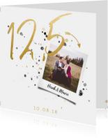 Jubileumkaart '12,5' met spetters en foto