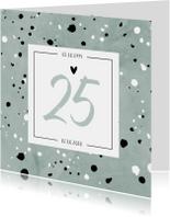 Jubileumkaart 25 jaar huwelijk groen stijlvol en hip