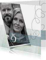 Jubileumkaart 25 jarig huwelijk, modern en stijlvol