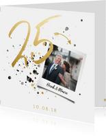 Jubileumkaart '25' met spetters en foto