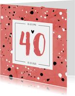 Jubileumkaart 40 jaar huwelijk rood stijlvol en hip