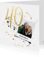 Jubileumkaart '40' met spetters en foto