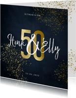 Jubileumkaart 50 jaar stijlvol goudlook met spetters