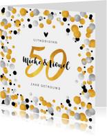 Jubileumkaart 50 jaar uitnodiging feestelijk met confetti