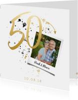 Jubileumkaart '50' met spetters en foto