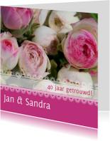 Jubileumkaart bloemen met kant