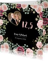 Jubileumkaart botanische rozen aquarel