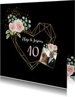 Jubileumkaart botanische rozen hart