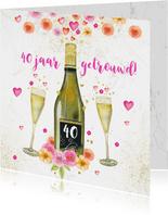 Jubileumkaart champagne en aquarelbloemen