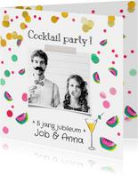 Jubileumkaart cocktail party meloen