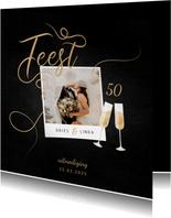 Jubileumkaart feest champagne met foto en gouden linten