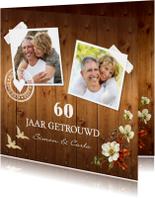 Jubileumkaart foto bloemen hout