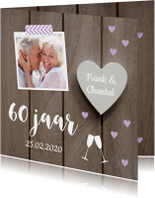 Jubileumkaart foto houtlook hartjes paars