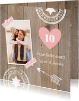 Jubileumkaart foto houtlook