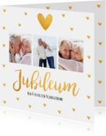 Jubileumkaart fotocollage vierkant gouden hartjes