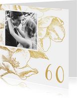Jubileumkaart gouden bloemen met foto en jaartal
