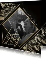 Jubileumkaart gouden bloemen zwart 50 jaar getrouwd met foto
