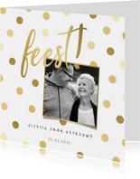 Jubileumkaart gouden 'feest' met confetti en foto